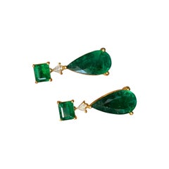 Certified Emerald Cut and Pear Shape Emerald Dangle Earring