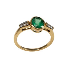 Certified Emerald and Diamond Engagement Ring 18 Karat Gold