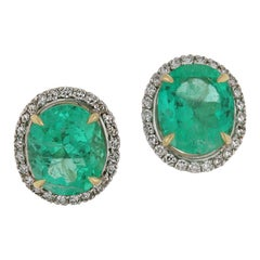 Certified Emerald and Diamond Gold Cluster Stud Earrings