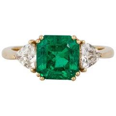 AGL Certified Emerald Diamond Ring in 18K Gold