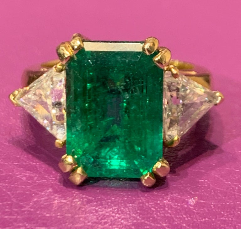 Women's or Men's Certified Emerald and Diamond Three-Stone Ring For Sale