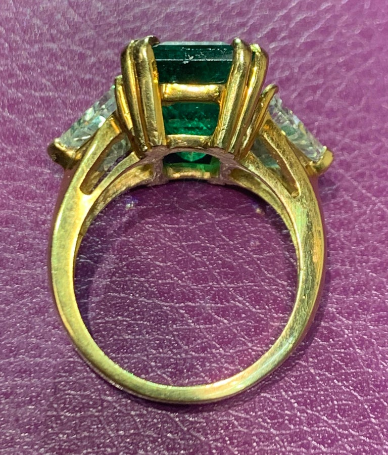Certified Emerald and Diamond Three-Stone Ring For Sale 1