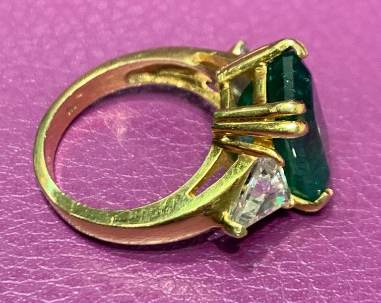Certified Emerald and Diamond Three-Stone Ring For Sale 2
