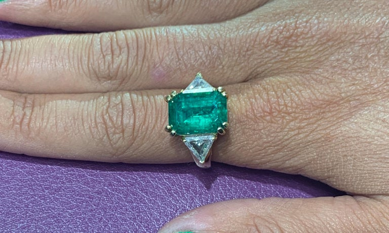 Certified Emerald and Diamond Three-Stone Ring For Sale 3