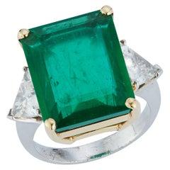 Certified Emerald & Diamond Three-Stone Ring