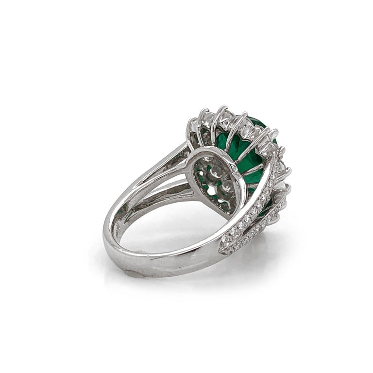 Certified Emerald Pear Cut 3.66 Carat Diamonds Platinum Ring In New Condition For Sale In New York, NY