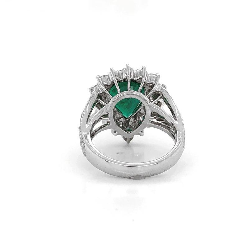 Women's Certified Emerald Pear Cut 3.66 Carat Diamonds Platinum Ring For Sale