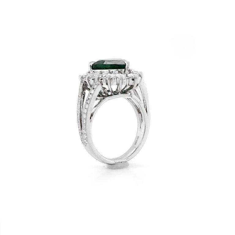 Certified Emerald Pear Cut 3.66 Carat Diamonds Platinum Ring For Sale 1