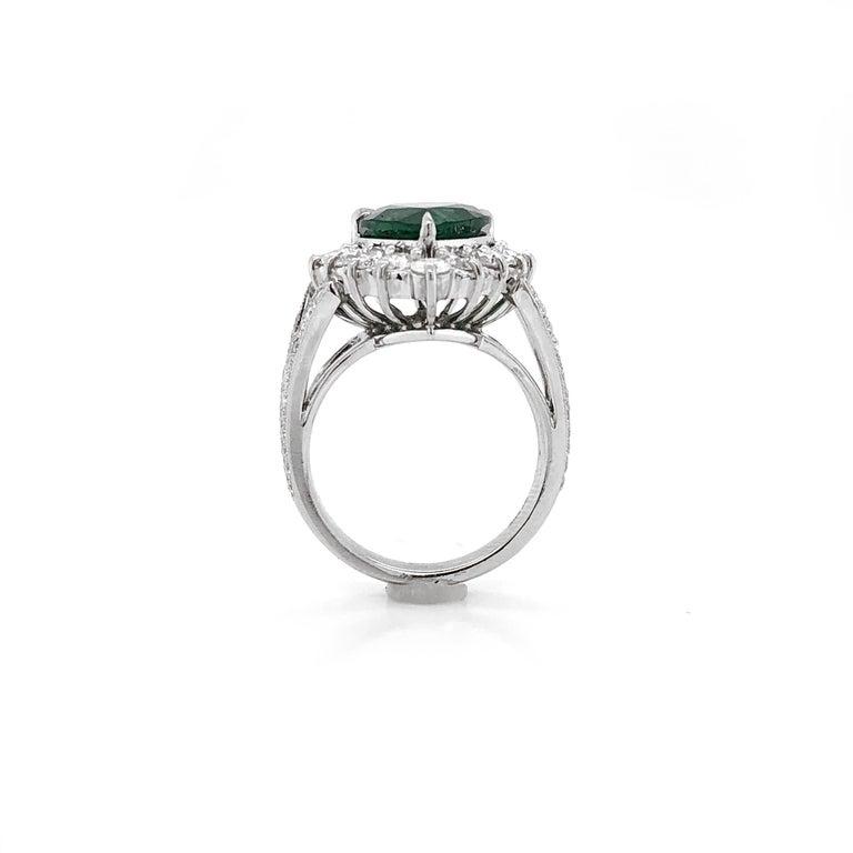 Certified Emerald Pear Cut 3.66 Carat Diamonds Platinum Ring For Sale 4