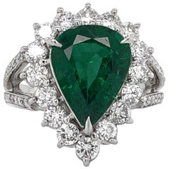 Certified Emerald Pear Cut 3.66 Carat Diamonds Platinum Ring