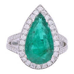 Certified Emerald Pear Shape Ring with Diamonds in 18 Karat White Gold