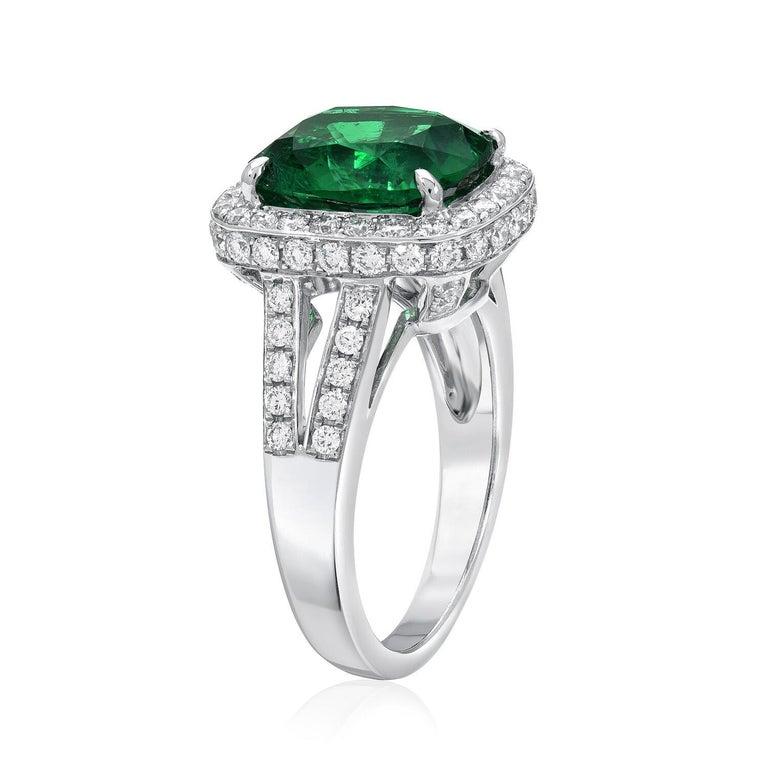 Modern Emerald Ring Cushion Cut 4.66 Carats For Sale