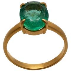 Emerald Solitaire Prong Set Ring Contemporary 18 Karat Yellow Matte Gold