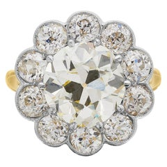 Certified Fancy Light Yellow Diamond 4.6 Carat Antique Old Cut Cluster Ring