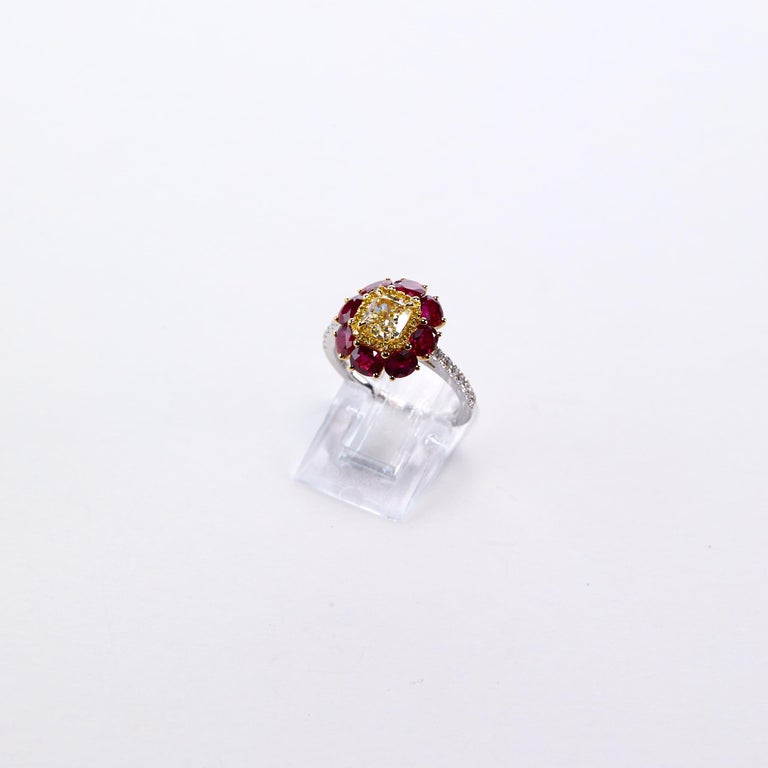 Ruby Engagement Rings For Sale: Certified Fancy Yellow And Ruby Engagement Ring For Sale