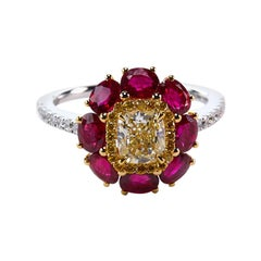 Certified Fancy Yellow and Ruby Engagement Ring