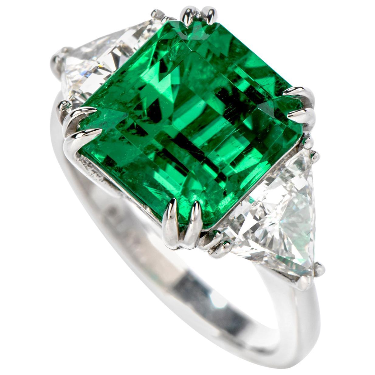 Certified GIA Colombian Emerald Diamond Platinum Three-Stone Ring