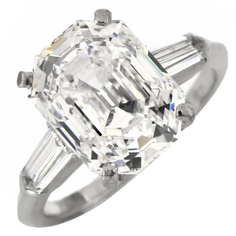 5.39 Asscher Cut 5.09 Carat GIA F-IF Diamond Platinum Engagement Ring For Sale