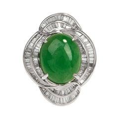 Certified GIA Green Jade Diamond Platinum Cocktail Ring