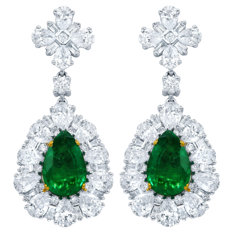 Certified Green Emerald and Diamond Earrings