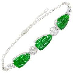 Certified Icy Apple Green Jade and Diamond Bracelet, Borderline Imperial Green
