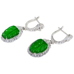 Certified Icy Apple Green Jade and Diamond Earrings, Almost Imperial Green