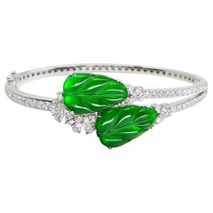Certified Icy Apple Green Jade & Diamond Bangle Bracelet, Almost Imperial Green
