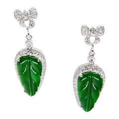 Certified Icy Imperial Green Jade & Diamond Earrings, Collector's Quality