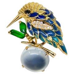 Certified Icy & Imperial Jade Diamond Hummingbird Brooch, Fine Enamel Work