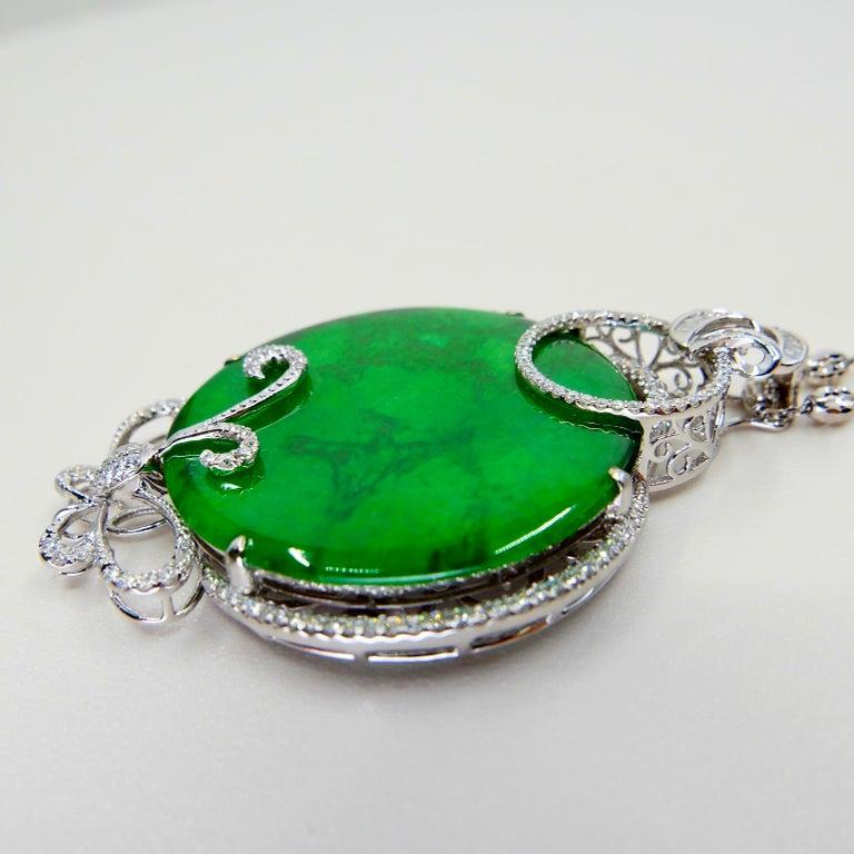 Certified Imperial & Apple Green Jadeite Jade Diamond Pendant, Sika Deer Pattern For Sale 5