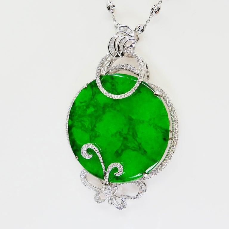 Certified Imperial & Apple Green Jadeite Jade Diamond Pendant, Sika Deer Pattern For Sale 6