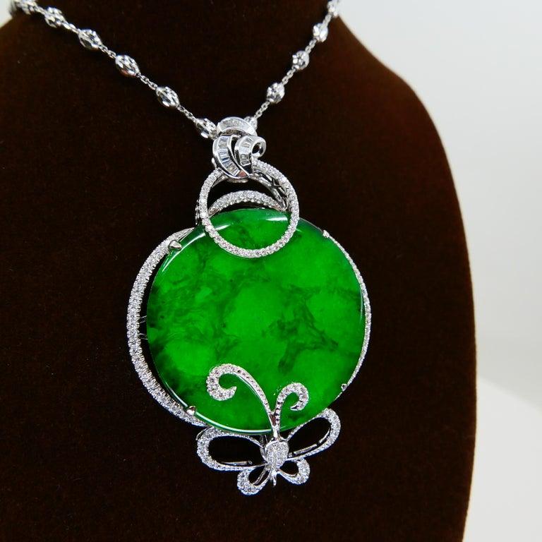 Certified Imperial & Apple Green Jadeite Jade Diamond Pendant, Sika Deer Pattern For Sale 7