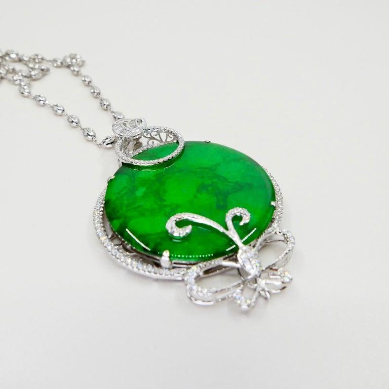 Certified Imperial & Apple Green Jadeite Jade Diamond Pendant, Sika Deer Pattern For Sale 8