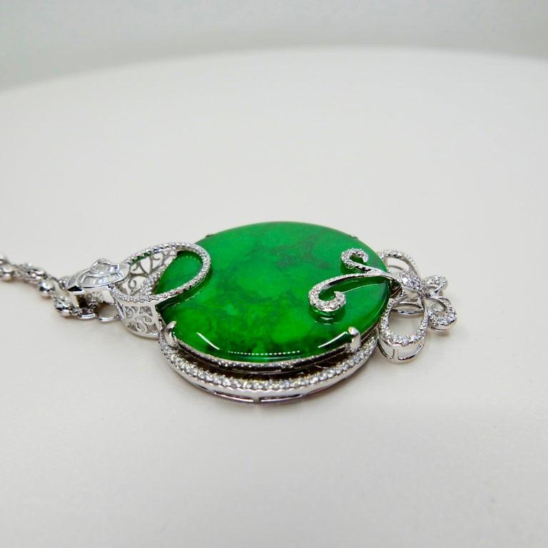 Certified Imperial & Apple Green Jadeite Jade Diamond Pendant, Sika Deer Pattern For Sale 9
