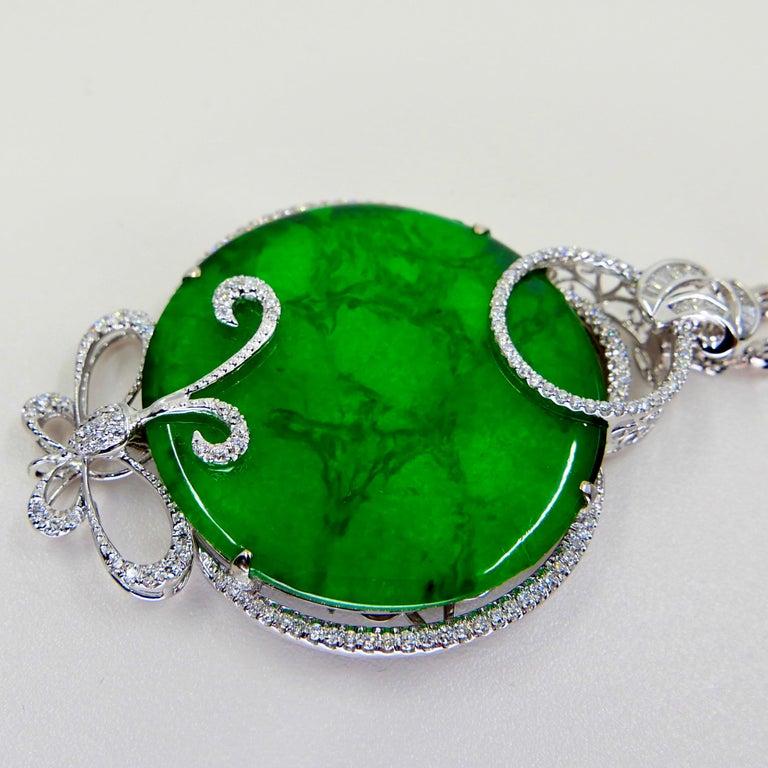 Certified Imperial & Apple Green Jadeite Jade Diamond Pendant, Sika Deer Pattern For Sale 10