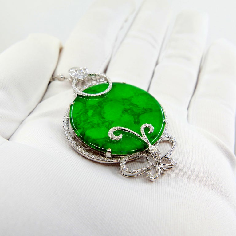 Certified Imperial & Apple Green Jadeite Jade Diamond Pendant, Sika Deer Pattern For Sale 11