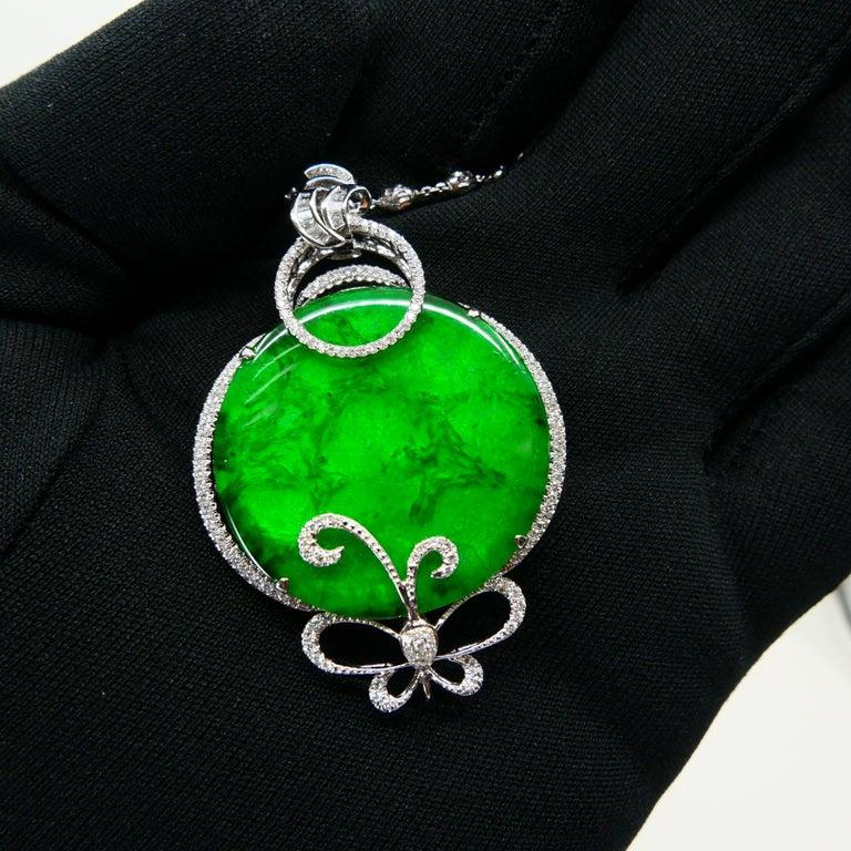Certified Imperial & Apple Green Jadeite Jade Diamond Pendant, Sika Deer Pattern For Sale 12