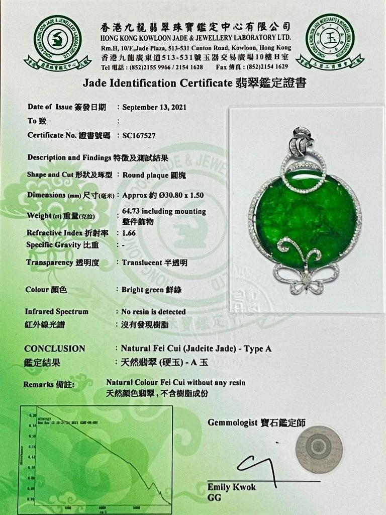 Certified Imperial & Apple Green Jadeite Jade Diamond Pendant, Sika Deer Pattern For Sale 13