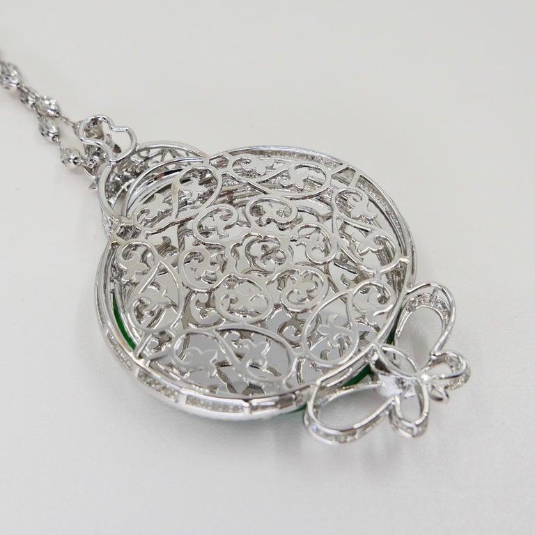 Round Cut Certified Imperial & Apple Green Jadeite Jade Diamond Pendant, Sika Deer Pattern For Sale