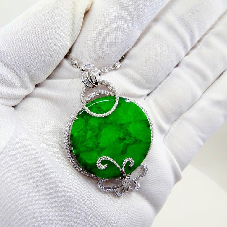 Certified Imperial & Apple Green Jadeite Jade Diamond Pendant, Sika Deer Pattern In New Condition For Sale In Hong Kong, HK