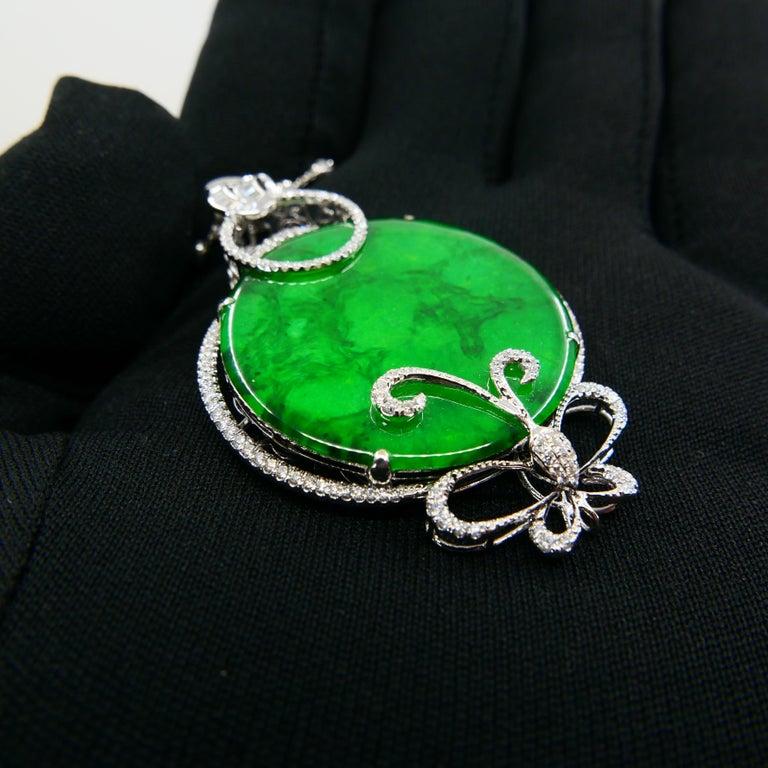 Women's Certified Imperial & Apple Green Jadeite Jade Diamond Pendant, Sika Deer Pattern For Sale