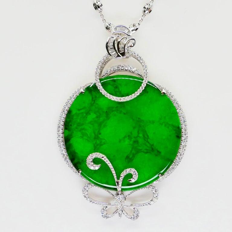 Certified Imperial & Apple Green Jadeite Jade Diamond Pendant, Sika Deer Pattern For Sale 1