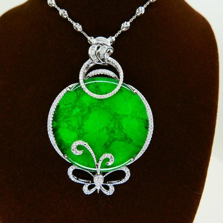 Certified Imperial & Apple Green Jadeite Jade Diamond Pendant, Sika Deer Pattern For Sale 3
