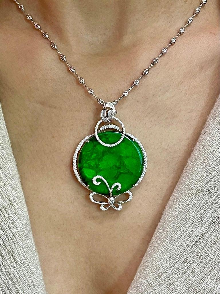 Certified Imperial & Apple Green Jadeite Jade Diamond Pendant, Sika Deer Pattern For Sale 4