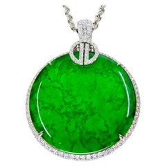 Certified Imperial & Apple Green Jadeite Jade Diamond Pendant, Sika Deer Pattern