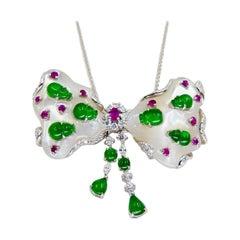 Certified Imperial Green Jadeite Jade Bow, Ruby, Diamond Pendant & Brooch, Glows