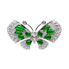 Certified Imperial Green Jadeite Jade Butterfly Diamond Ring, Pendant & Brooch