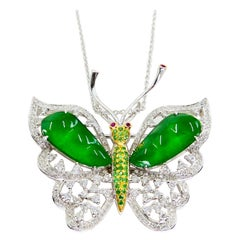 Certified Imperial Jade, Diamond Butterfly Pendant / Brooch, Collector Quality