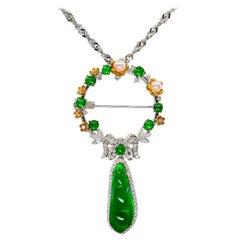 Certified Imperial Jade, Pearl, Diamond Pendant / Brooch, Wear 5 Different Ways