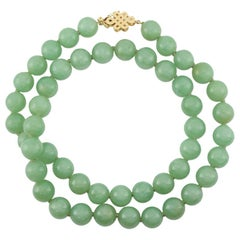 Certified Impressive Large Green Jade Bead Necklace
